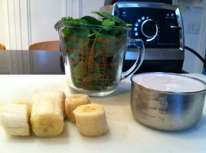 Ingredients for Spinach, Banana & Almond Milk Smoothie